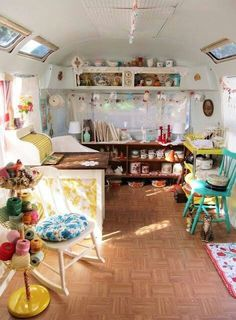 Caravan Art Space. Wow, this combines two things high on my interest list. An art studio and a camper trailer. Can get one that needs to be gutted, white wash the whole thing and put jute rug on the floor.