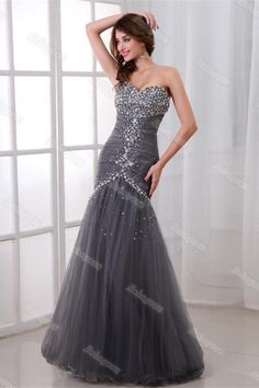 Trumpet/Mermaid Sweetheart Floor-Length Tulle Prom Gown with Crystal Long Prom Dresses Uk, Cheap Prom Dresses, Prom Party Dresses, Modest Dresses, Strapless Dress Formal, Formal Dresses, Wedding Dresses, Simple Prom Dress, Sweet 16 Dresses