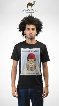 T-shirt 100% coton unisexe - Lion kingdom of Morocco.    lepetitdromadaire.com Lion Kingdom, Morocco, T Shirt, Mens Tops, Collection, Fashion, Unisex, Supreme T Shirt, Moda