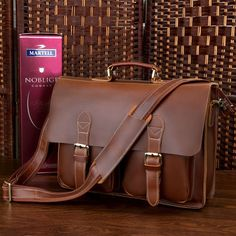 """Handmade Superior Leather Briefcase / Messenger Bag -- with a 14"""" 15"""" Laptop / 13"""" 15"""" MacBook Sleeve"""