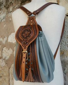 SR  Leather Tooled Bag
