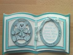 Personalised-Hand-made-New-Baby-Christening-card-Bookatrix-Boxed Baby Shower Cards, Baby Cards, Christening Card, Tattered Lace Cards, Card Book, Baby Books, Kids Birthday Cards, Die Cut Cards, Open Book