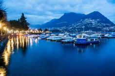 Lugano (Swiss), after sunset - source: NLC