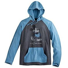 Mickey Mouse Long Sleeve Hooded Tee for Men - Walt Disney World - Blue | Disney Store Mickey's classic pose takes the spotlight on this soft heathered pullover with long raglan sleeves, pouch pocket, and drawstring hood, a sporty souvenir of <i>Walt Disney World</i> Resort.