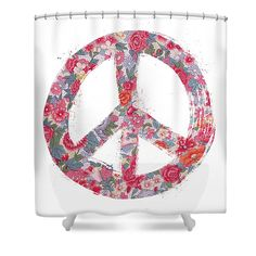 """Far Too Pretty Peace Symbol #1 Shower Curtain by Nola Lee Kelsey.  This shower curtain is made from 100% polyester fabric and includes 12 holes at the top of the curtain for simple hanging.  The total dimensions of the shower curtain are 71"""" wide x 74"""" tall."""
