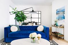 30 Awesome Picture of Blue Couch Living Room . Blue Couch Living Room Cool Down Your Design With Blue Velvet Furniture Hgtvs Decorating Blue Sofa Living, Couches Living Room, Eclectic Living Room, Blue Couch Living Room, Elegant Living Room, Living Room Colors, Blue Living Room Decor, Velvet Sofa Living Room, Couch Decor