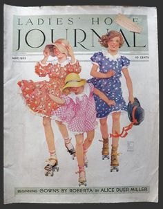 1933 Ladies Home Journal Cover ~ Children on Roller Skates, Vintage Magazine Covers