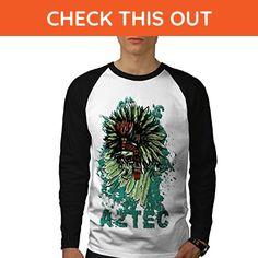 Aztec Indian Curse Chief Tribe Men S Baseball LS T-shirt   Wellcoda - Sports shirts (*Amazon Partner-Link)