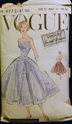 Vtg 1950s Vogue Special Design 4772 Strapless Evening Dress Gown PATTERN 12/32 sld 64+2 13bds 2/1/15