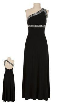 Embellished Black One Shoulder Dress