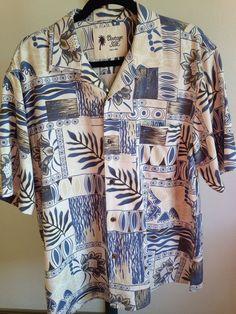 Vintage Silk Hawaiian Aloha Tiki Floral Tropical Short Sleeve Shirt Medium  #Circa #Hawaiian