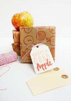 Printable Apple Gift Wrap & Tags   Oh Happy Day!