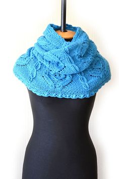 Turquoise knit cowlblue knit scarfknit infinity by DinaStyleKnits