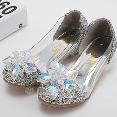 Girl's Pumps Closed Toe Low Heel Leatherette Sparkling Glitter Rhinestone Kids' Shoes