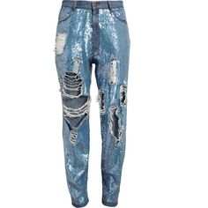 ASHISH Distressed Sequin Denim Jeans (€1.000) ❤ liked on Polyvore featuring jeans, pants, bottoms, denim, side pocket jeans, ripped jeans, relaxed fit jeans, destroyed jeans and blue distressed jeans