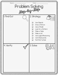 Math Problem Solving Key Words Posters Education Pinterest