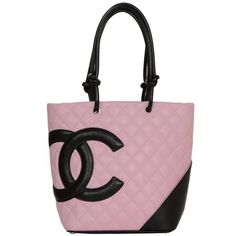 Preowned Chanel Pink & Black Quilted Medium Cambon Tote Bag Shw (£585) ❤ liked on Polyvore featuring bags, handbags, tote bags, pink, black leather handbags, black leather purse, black tote bag, black quilted tote and black quilted tote bag