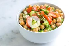 15-minute chickpea salad recipe with lemon, fresh dill, cucumber and sweet tomatoes that's easy to make and can be made in advance.