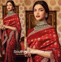 Deepika Padukone looked stunning in a red Sabyasachi saree that she donned for an ad-shoot recently. We love the antique jewellery that she sported. Sabhyasachi Sarees, Indian Sarees, Silk Sarees, Saris, Red Saree, Saree Look, Saree Dress, Deepika Padukone Saree, Deepika In Saree