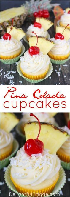 Pina Colada Cupcakes The classic Pina Colada cocktail turned into a cupcake! Pineapple and coconut baked into a moist, delicious cake and then topped with an amazing coconut cream cheese frosting. The perfect to celebrate any occasion! Pina Colada Cupcakes, Alcoholic Cupcakes, Köstliche Desserts, Delicious Desserts, Dessert Recipes, Tropical Desserts, Pineapple Coconut Cupcakes, Hawaiin Cupcakes, Coconut Cream Cupcakes
