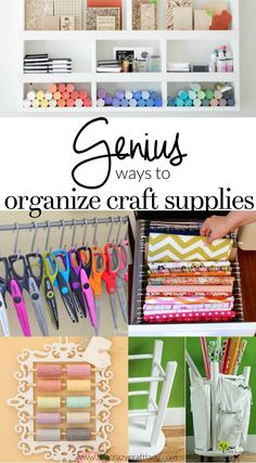 Genius Ways to Organize Craft Supplies - I searched the internet to share my favorite ways to organize craft supplies! Keep your craft supplies organized with these craft room organizing ideas. #getorganized #organizedcraftroom #craftstorage  #craftroom #craftsupplies #thecrazycraftlady