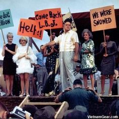 Bob Hope at Qui Nhon in December 1966.    This is the annual Bob Hope Christmas Show for the troops. He had been doing this since World War II.    From left to right behind Bob you have Diane Shelton, Joey Heatherton, Miss Universe India, Phyllis Diller and one of the three Kim Sisters.