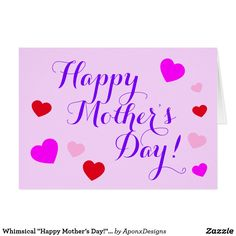 Create your own unique greeting on a Pink card from Zazzle. From birthday, thank you, or funny cards, discover endless possibilities for the perfect card! Mother's Day Greeting Cards, Pink Cards, Happy Mother S Day, Create Your Own, Whimsical, Templates, Nice, Models, Stenciling