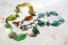 MULTICOLOR seaglass necklace with gemstones. by PalmerasDesign, $98.00
