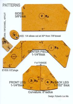 patterns for mecanichal wood toys | Here are the rhino toy patterns in PDF format , which will allow you ...