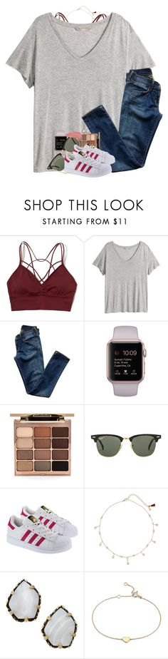 """""""She's a tornado with pretty eyes and a heartbeat"""" by southernstruttin ❤ liked on Polyvore featuring Hollister Co., H&M, Citizens of Humanity, Stila, Ray-Ban, adidas, Shashi, Kendra Scott and Blue Nile"""
