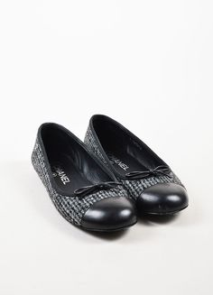 Chanel Grey, Black, and, Silver Leather and Tweed Cap Toe Ballet Flats