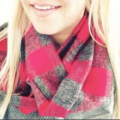 3 Stars North red and gray plaid flannel infinity scarf.