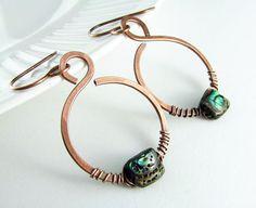 Copper Earrings Wire Wrapped Earrings Genuine by PolymerPlayin, $22.00