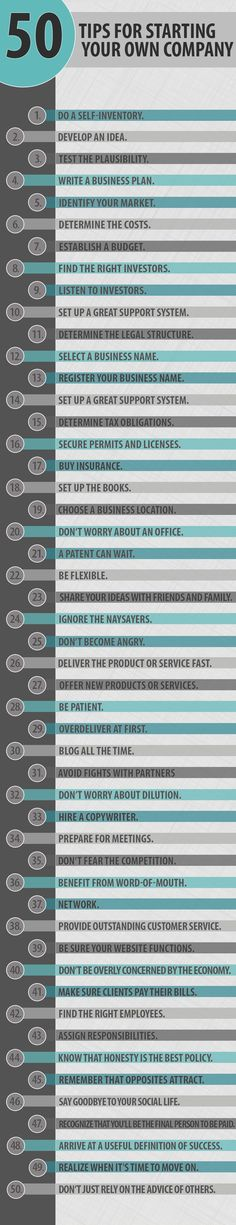 50 #tips for starting your own #company .. www.jehle-coaching.com