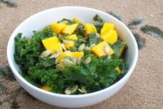 Kale and Mango Salad - all you have to do is drizzle some olive oil on your salad and it is Hanukkah!