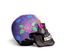 Large Hand Painted Resin Skull Painted skull Sugar skull colorful skull by PearlesPainting on Etsy Skull Crafts, Colorful Skulls, Skull Painting, Sugar Skull Art, Mexican Skulls, Hacks Diy, Household Items, Halloween Fun, Craft Stores