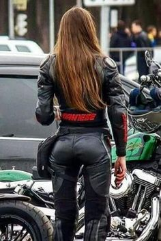 Biker girl leather pants bottom