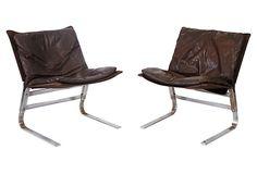 1960s Ligne Roset Chairs | Leather + Chrome