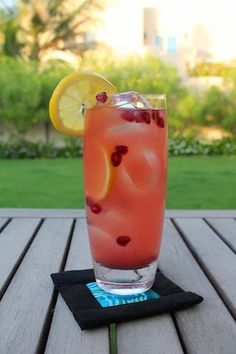 Pomegranate juice, sparkling lemonade and vodka make a refreshing cocktail during the hot summer months, with the bonus of reputed antioxidants in the pomegranate and vitamin C from the lemonade.