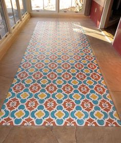 Floored! We ♥ how artist Pamela Platt used our Chez Ali Moroccan stencil to add pattern & color to an outdoor patio floor! | Royal Design Studio