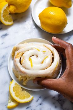 These lemon sweet rolls have bright lemony citrus flavor throughout these rolls and get smothered with a delightful gooey lemon cream cheese icing! @butterbeready