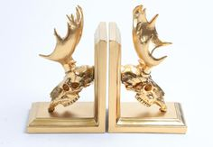 A set of customized moose skull bookends you can paint almost any color.   38 Creepy Cool Gifts Every Skull Lover Will Want