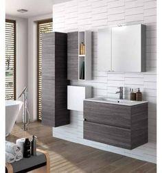 Mueble de Baño de Madera. Conjunto de baño incluye Mueble de Baño Fussion Line de 80 y Encimera Cerámica. Acabados: Blanco brillo, Gris brillo, Taupe brillo, Natural, Sbiancato y Alsacia.