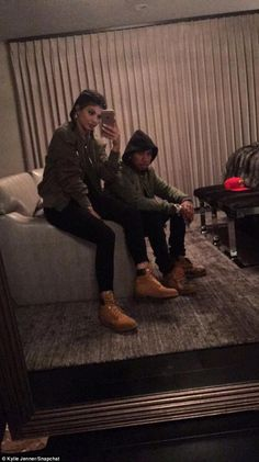 No longer blue: Later that night Kylie shared a Snapchat of herself with boyfriend Tyga...