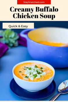 Easy Creamy Buffalo Chicken Soup is a quick and healthy recipe that will solve your cravings for hot wings! This soup is loaded with Frank's Red Hots Buffalo hot sauce and you can top it with blue cheese or ranch if you wish! Easy Soup Recipes, Keto Recipes, Chicken Recipes, Healthy Recipes, Buffalo Chicken Soup, Healthy Buffalo Chicken, Quick And Easy Soup, Quick Easy Meals, Low Carb Ranch Dressing