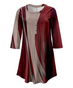 Take a look at this Red & Beige Button-Front Tunic - Plus Too today!