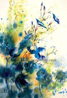 """""""Floraisons"""" Maryse de May aquarelle"""
