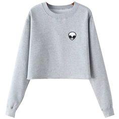 Chicnova Fashion Alien Fleece Sweatshirt (18 CAD) ❤ liked on Polyvore featuring tops, hoodies, sweatshirts, sweaters, shirts, crew neck sweatshirts, print top, crew-neck shirts, crew neck fleece sweatshirts and crew-neck sweatshirts