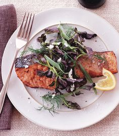 Salmon with Lemon-Pepper Sauce and Watercress-Herb Salad Recipe | Epicurious.com #myplate #protein