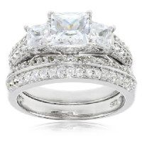 Sterling Silver Cubic Zirconia Ladies Ring Set, Size 7 $79.00 #AmazonCuratedCollection